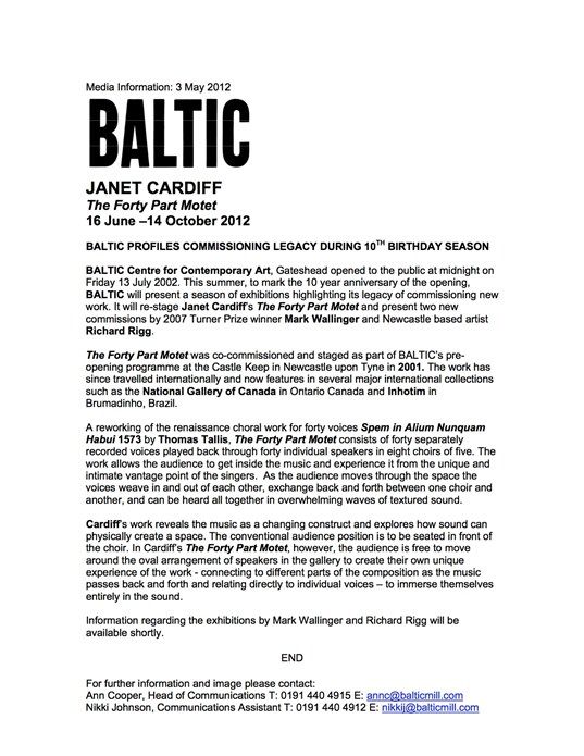 Janet Cardiff: Forty Part Motet: Press Release (2012)