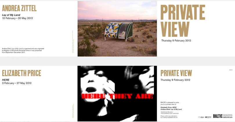 Elizabeth Price: Andrea Zittel: Private View Invitation