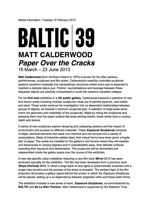 Matt Calderwood: Paper Over the Cracks: Press Release