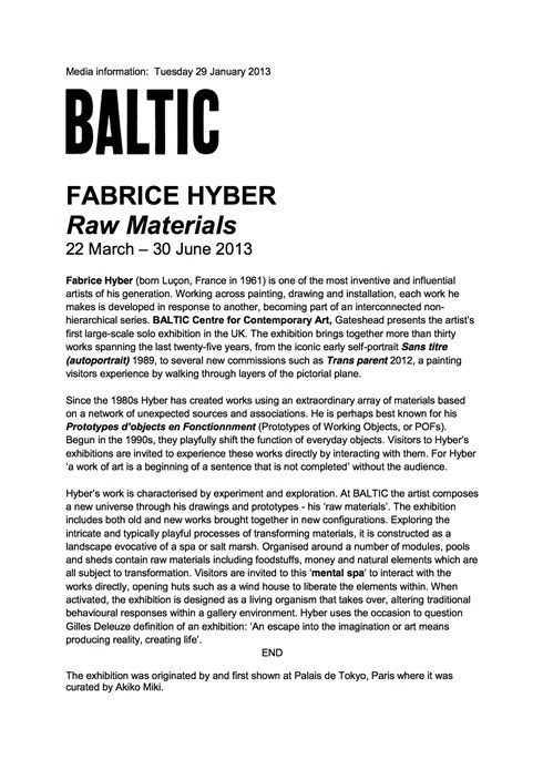 Fabrice Hyber: Raw Materials: Press Release