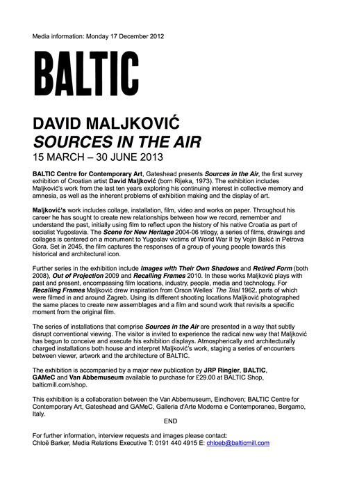 David Maljkovic: Sources in the Air: Press Release