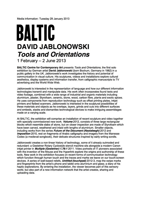 David Jablonowski: Tools and Orientations: Press Release