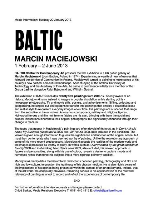 Marcin Maciejowski: Press Release