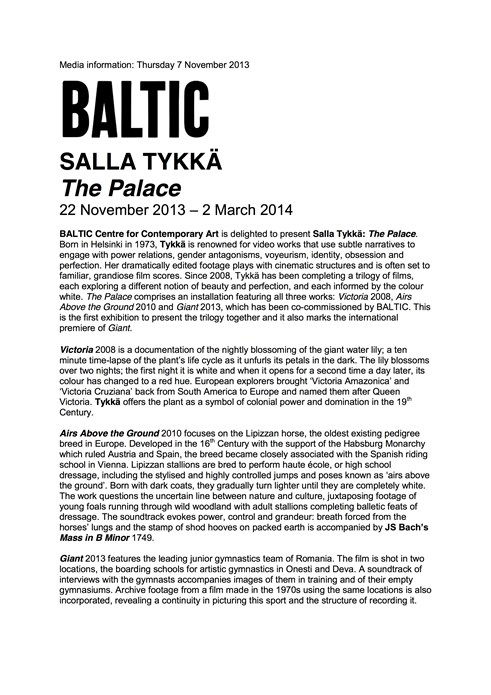 Salla Tykkä: The Palace: Press Release