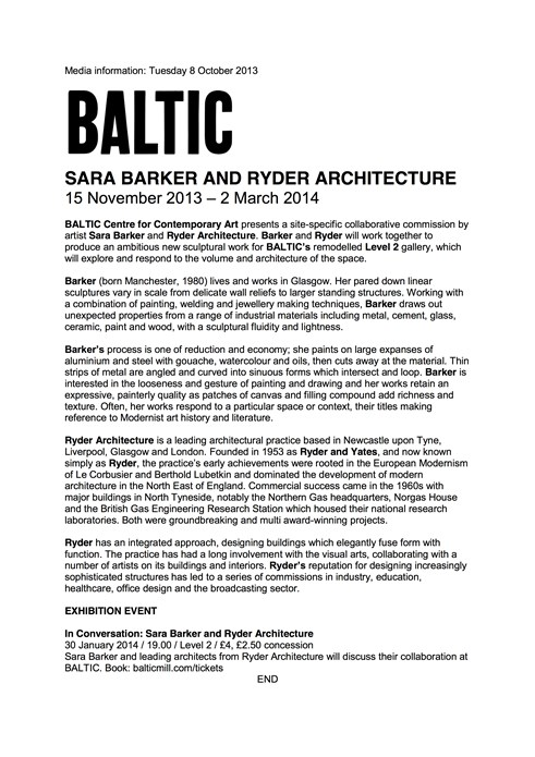 Sara Barker and Ryder Architecture: Press Release