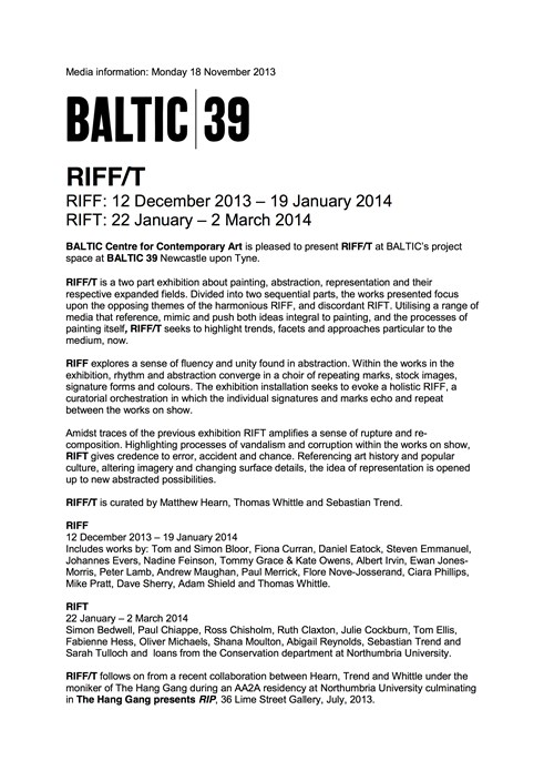RIFF/T: Press Release