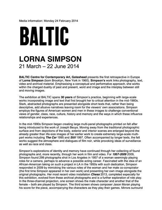 Lorna Simpson: Press Release