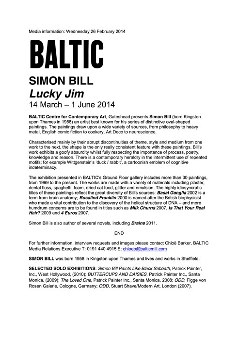 Simon Bill: Lucky Jim: Press Release