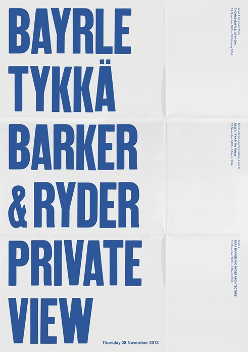 Sara Barker/Salla Tykkä/Thomas Bayrle: Private View Invitation