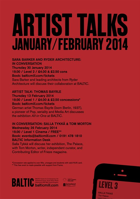 Artist Talks: January/February 2014: A5 Flyer