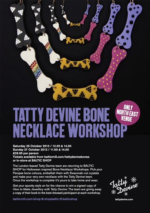 BALTIC Shop: Tatty Devine Bone Necklace Workshop: A5 Flyer