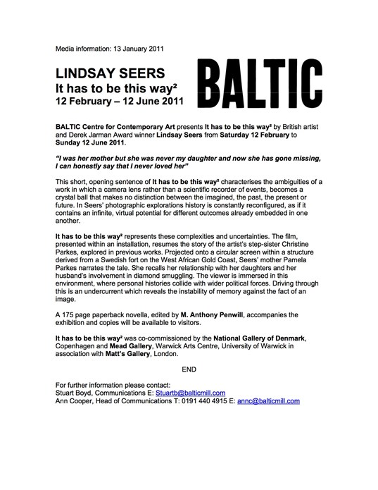 Lindsay Seers: It has to be this way2: Press Release