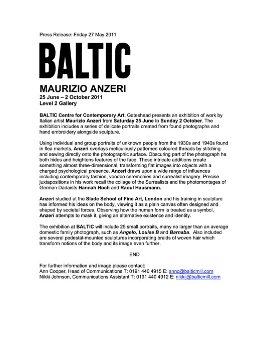 Maurizio Anzeri: Press Release