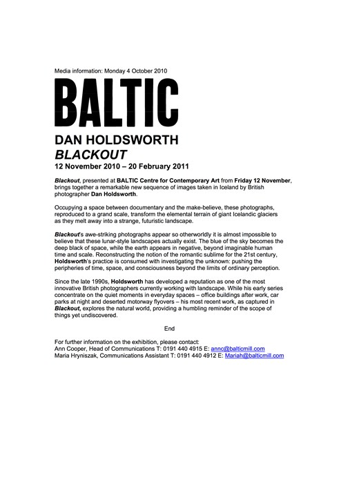 Dan Holdsworth: Blackout: Press Release
