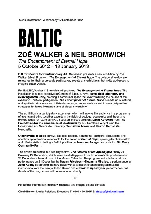 Zoe Walker and Neil Bromwich: Encampment of Eternal Hope: Press Release