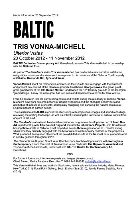 Tris Vonna-Michell: Ulterior Vistas: Press Release