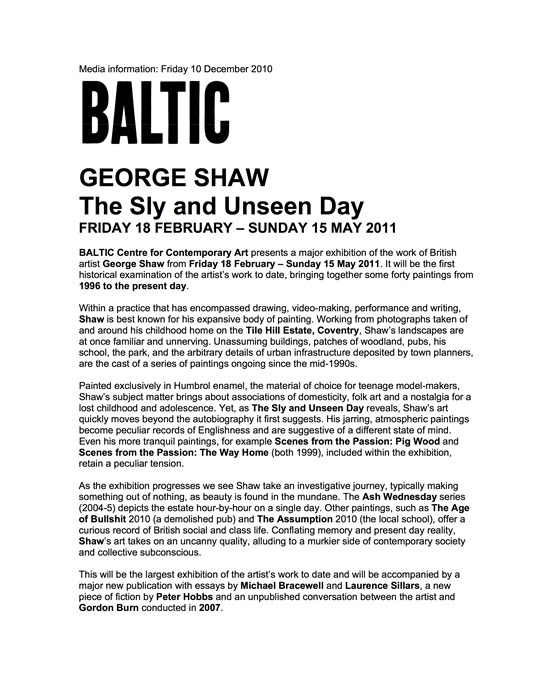 George Shaw: The Sly and Unseen Day: Press Release