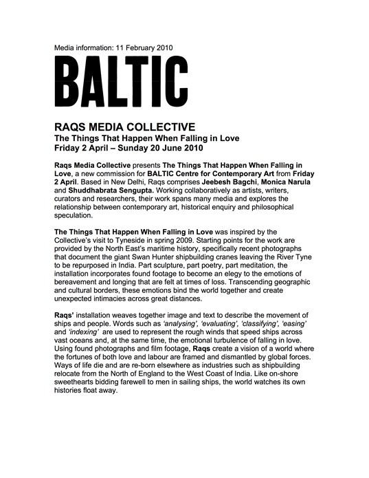 RAQS Media Collective: Things That Happen When Falling in Love: Press Release