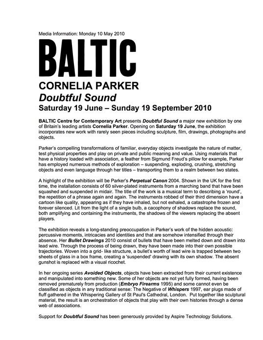 Cornelia Parker: Doubtful Sound: Press Release
