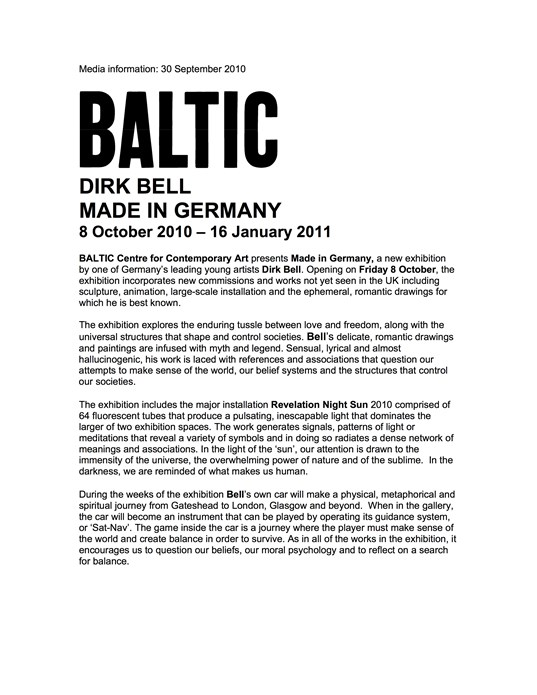 Dirk Bell: Made in Germany: Press Release