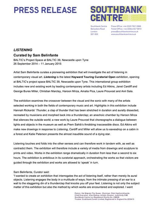 Listening: Press Release