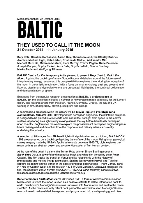 They Used to Call it the Moon: Press Release