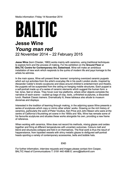 Jesse Wine: Young man red: Press Release