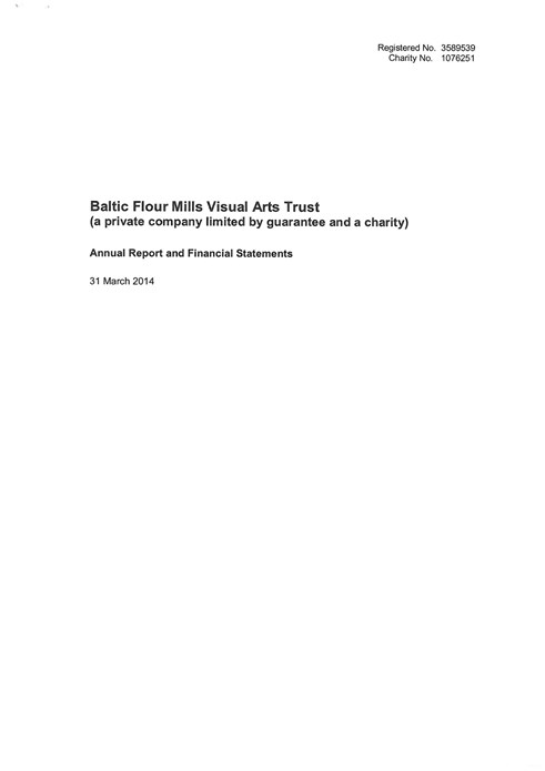Baltic Flour Mills Visual Arts Trust: Annual Report and Financial Statements: 31 March 2014