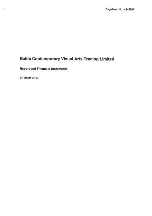 Baltic Flour Mills Visual Arts Trading Limited: Report and Financial Statements: 31 March 2013