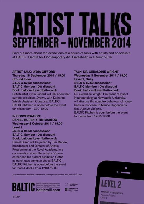 Artist Talks: September-November 2014: A5 Flyer