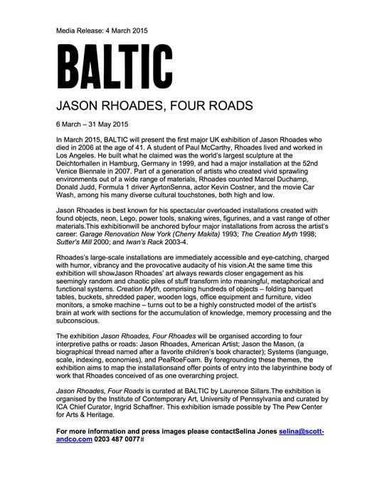 Jason Rhoades, Four Roads: Press Release