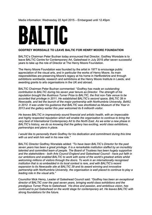 Godfrey Worsdale to Leave BALTIC: Press Release