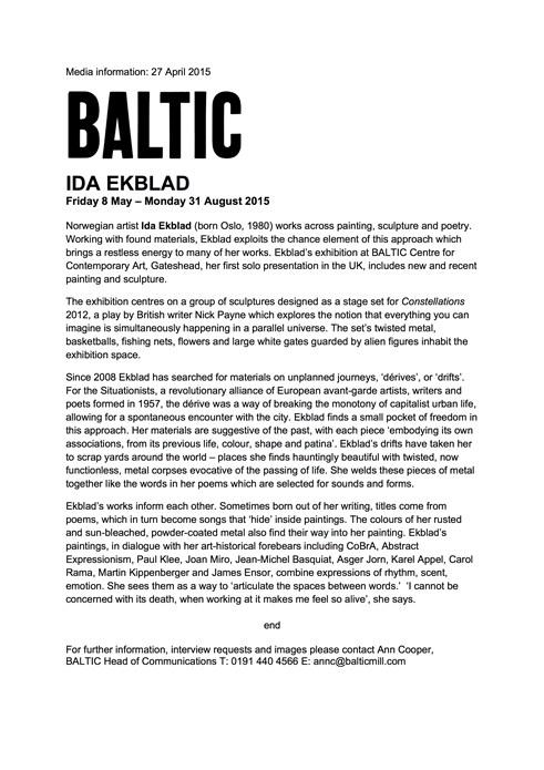 Ida Ekblad: Press Release
