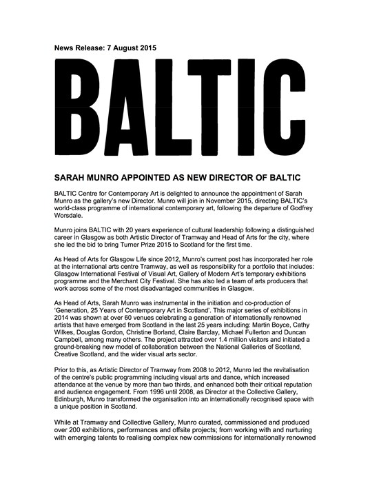Sarah Munro appointed as new Director of BALTIC: Press Release