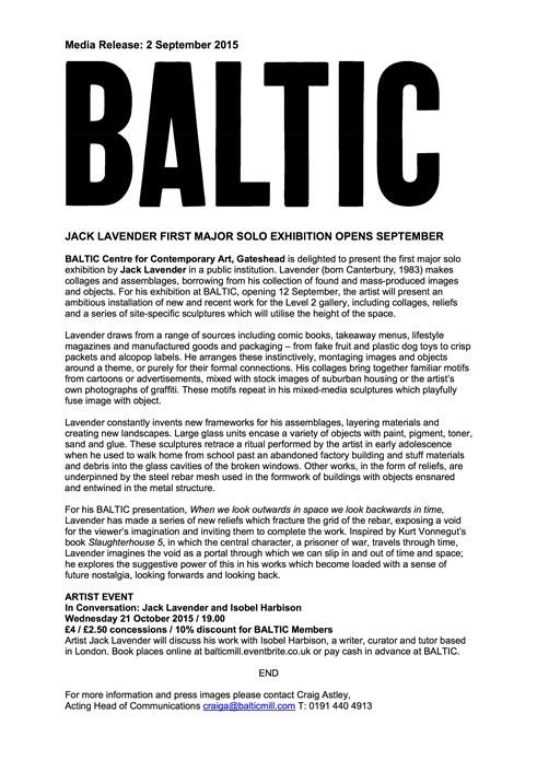 Jack Lavender: Press Release