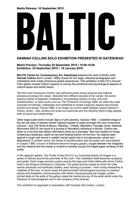 Hannah Collins: Press Release