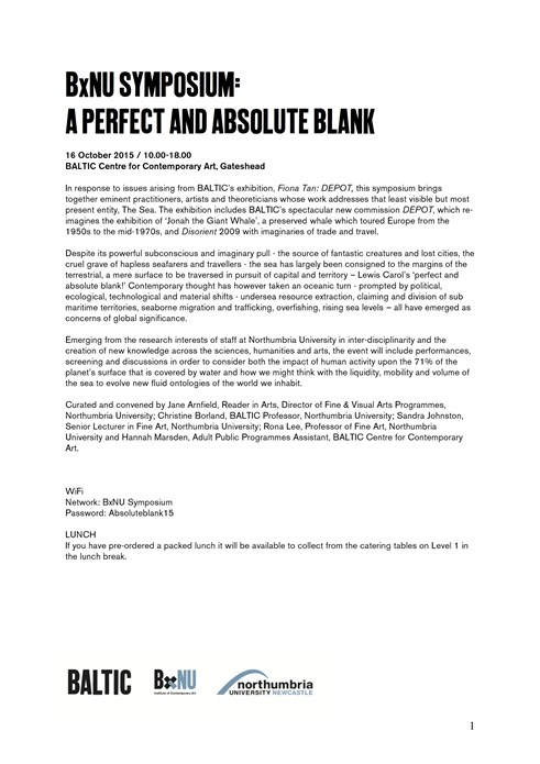 BxNU SYMPOSIUM: A Perfect and Absolute Blank: Delegate Pack