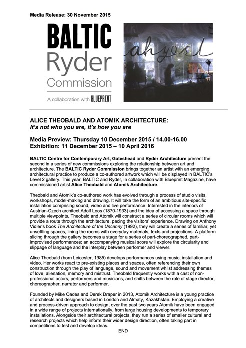 BALTIC Ryder Commission: Alice Theobald and Atomik Architecture: Press Release
