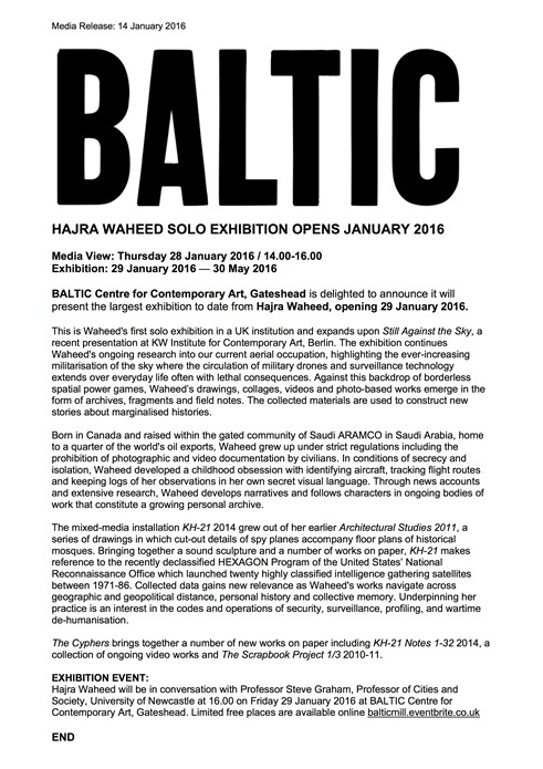 Hajra Waheed: BALTIC Press Release