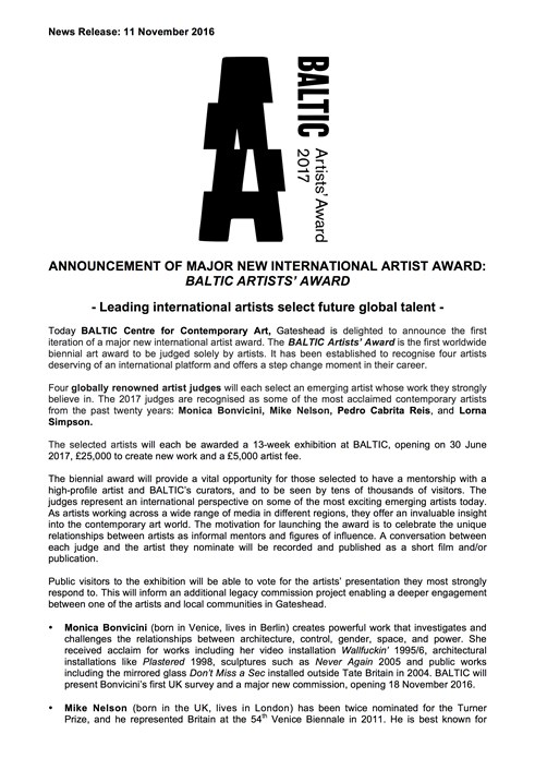 BALTIC Artists' Award 2017: Press Release