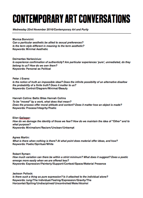 Contemporary Art Conversations: Purity (handout)