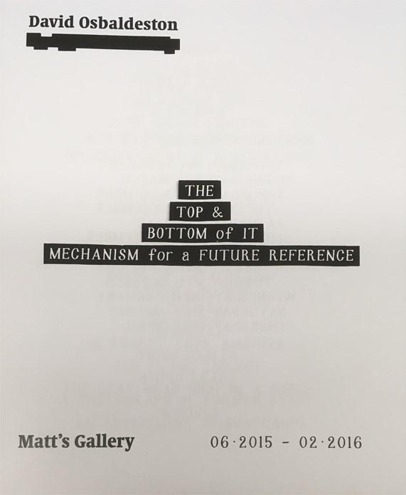 David Osbaldeston: The Top & Bottom of It. Mechanism for a Future