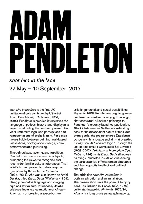 Adam Pendleton: shot him in the face: Interpretation Guide