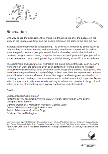Gillie Kleiman: Recreation: Program notes