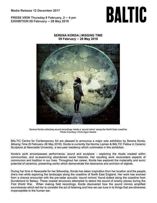 Serena Korda: Press Release