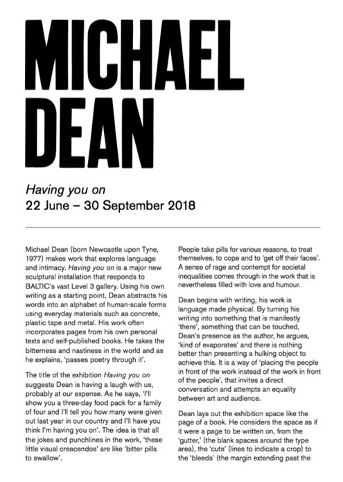 Michael Dean: Having you on: Interpretation Guide