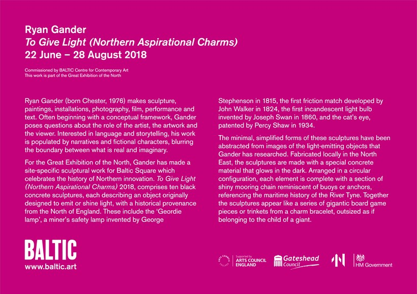 Ryan Gander: To Give Light (Northern Aspirational Charms): Interpretation Panel