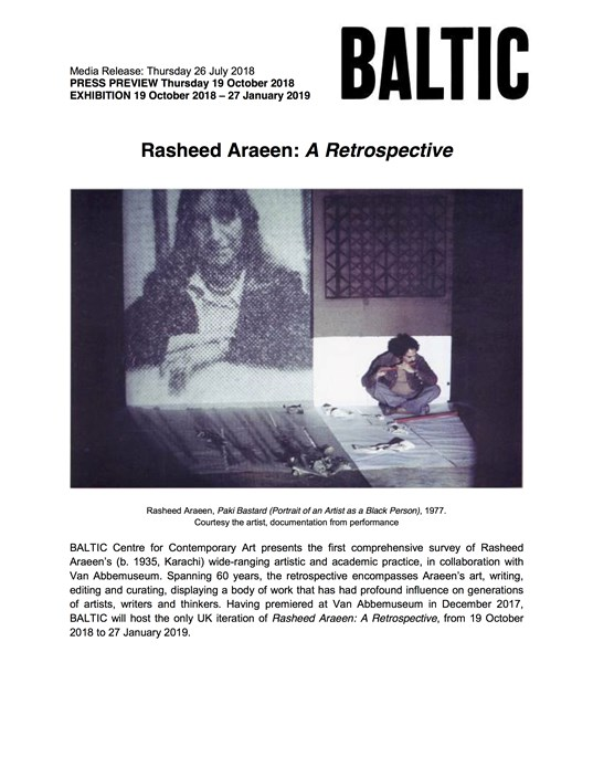 Rasheed Araeen: Press Release