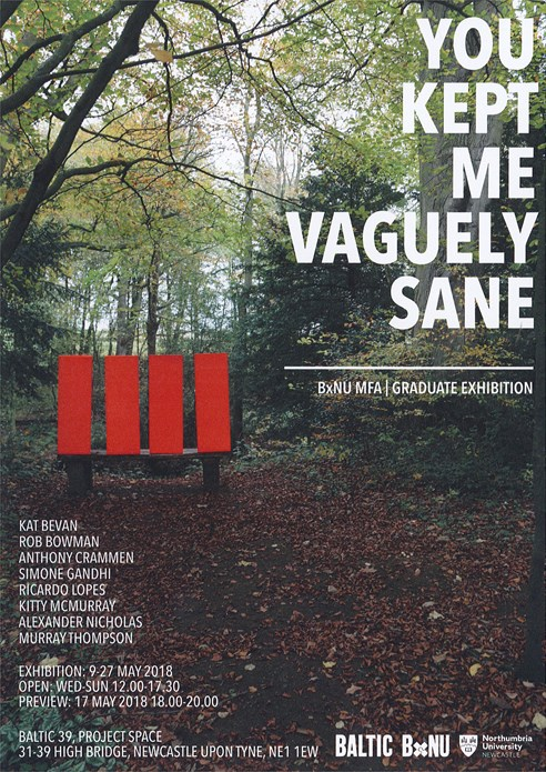 BxNU MFA | Graduate Exhibition: You Kept Me Vaguely Sane: Flyer