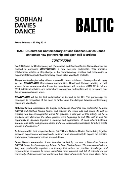 CONTINUOUS: BALTIC and Siobhan Davies Dance announce new partnership
